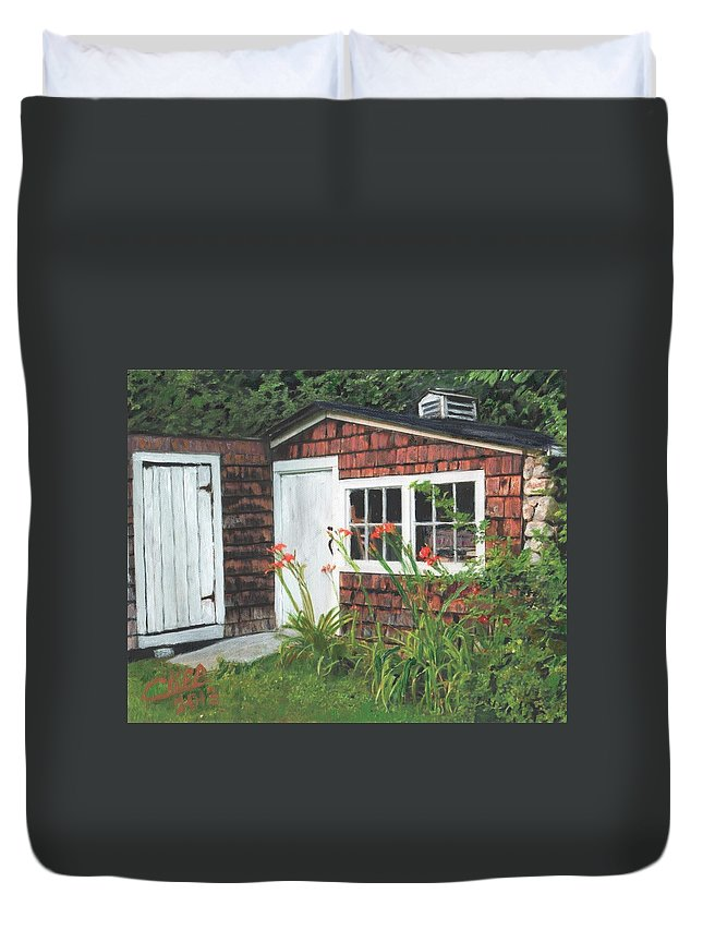 Flowers Building Duvet Cover featuring the painting Back Yard Shed by Cliff Wilson