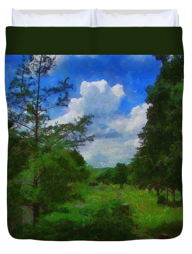 Back Yard Duvet Cover featuring the painting Back Yard View by Jeffrey Kolker