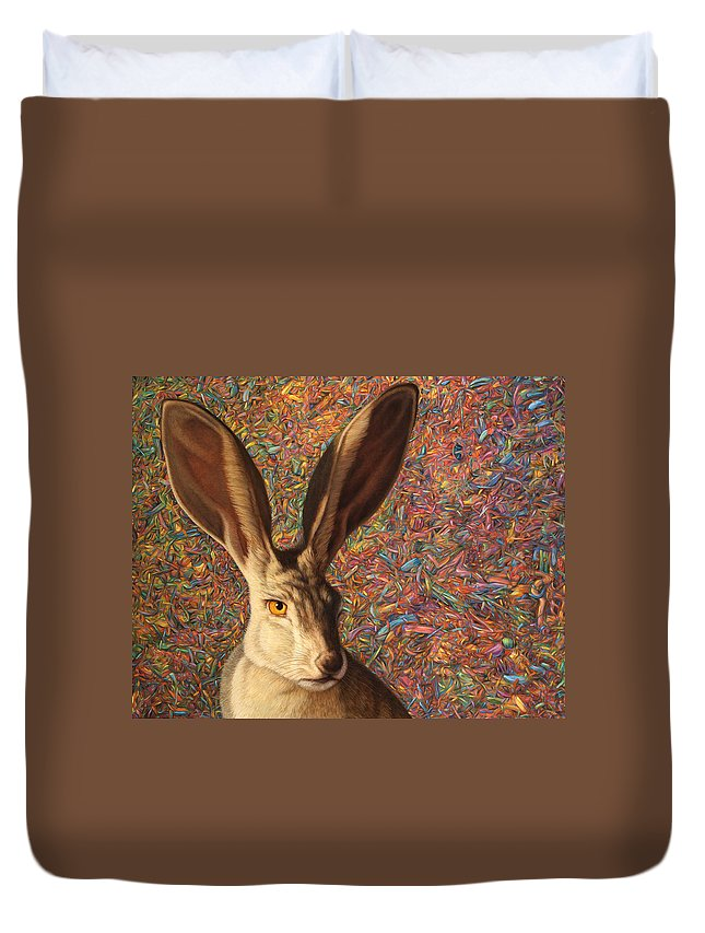 Rabbit Duvet Cover featuring the painting Background Noise by James W Johnson