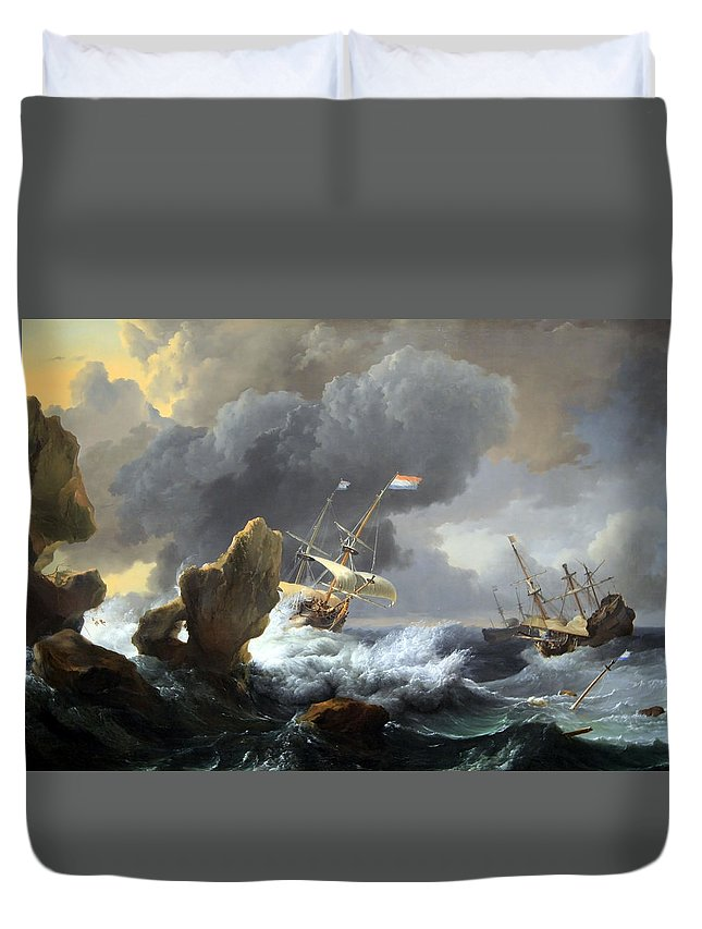 Ships In Distress Off A Rocky Coast Duvet Cover featuring the photograph Backhuysen's Ships In Distress Off A Rocky Coast by Cora Wandel