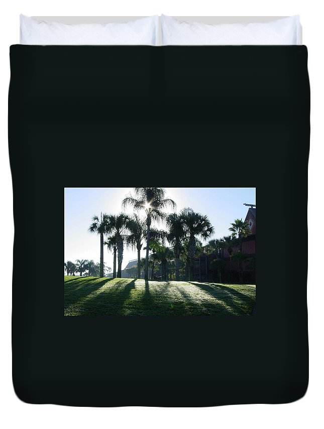 Art Duvet Cover featuring the photograph Backlit Palms by Kim Chernecky