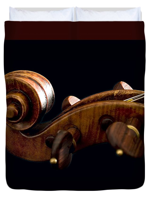 Strad Duvet Cover featuring the photograph Backlit Scroll by Endre Balogh