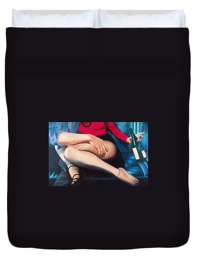Sensual Duvet Cover featuring the painting Backseat Number by Mary Ann Leitch