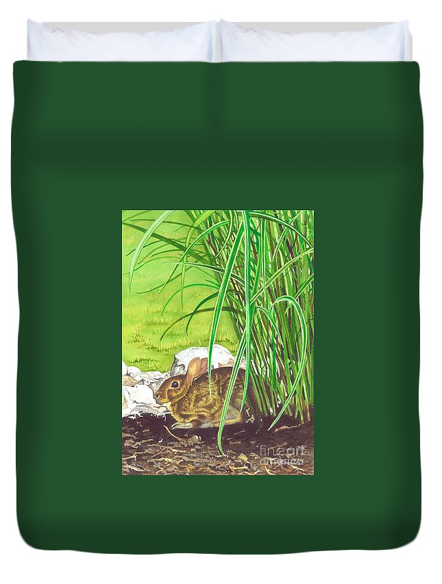 Water Color Paintings Duvet Cover featuring the painting Backyard Bunny by Barbara Jewell