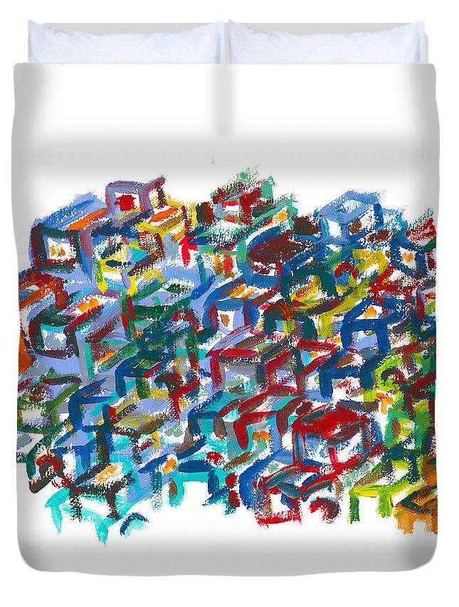 Scapyard Duvet Cover featuring the painting Backyards by Bjorn Sjogren