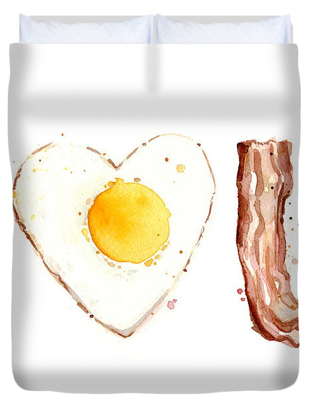 Bacon Duvet Cover featuring the painting Bacon And Egg Love by Olga Shvartsur