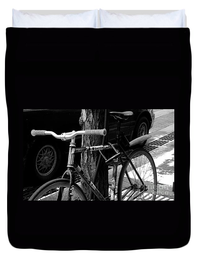 Bicycle With Stickers Duvet Cover featuring the photograph Bacon Love by Kitrina Arbuckle