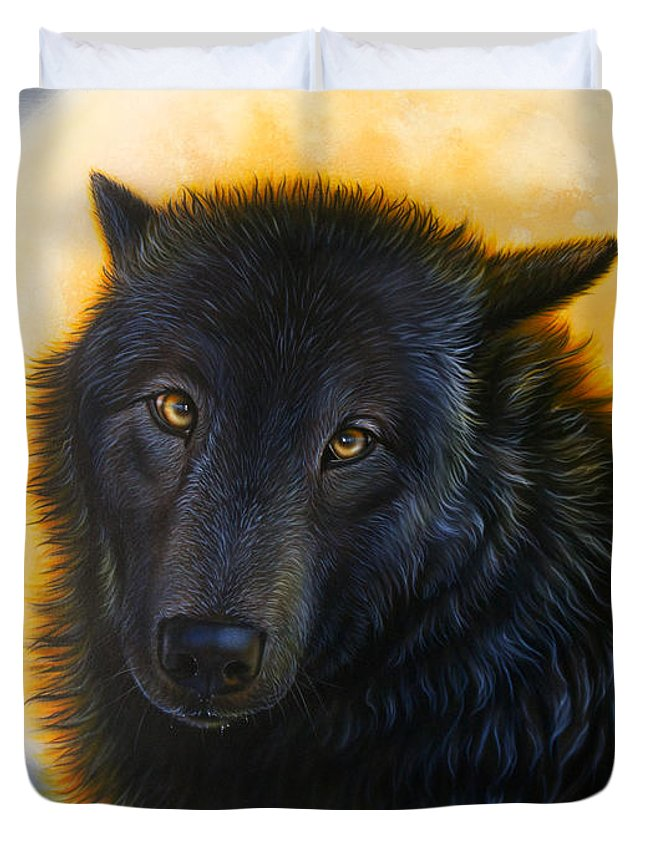 Black Wolf Duvet Cover featuring the painting Bad Girls have Halos Too by Sandi Baker