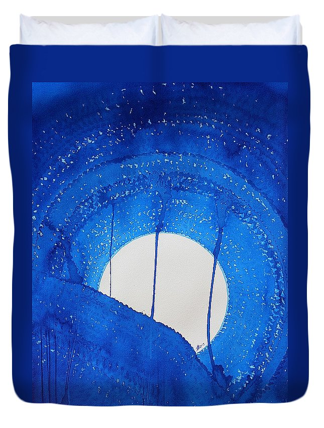 Moon Duvet Cover featuring the painting Bad Moon Rising Original Painting by Sol Luckman