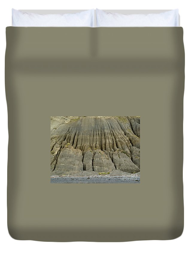 Background Duvet Cover featuring the photograph Badland Erosion Of Soft Conglomerate Sediment by Stephan Pietzko