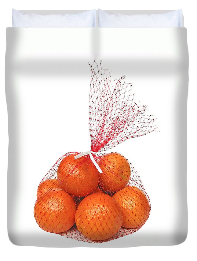Oranges Duvet Cover featuring the photograph Bag Of Oranges by Ann Horn