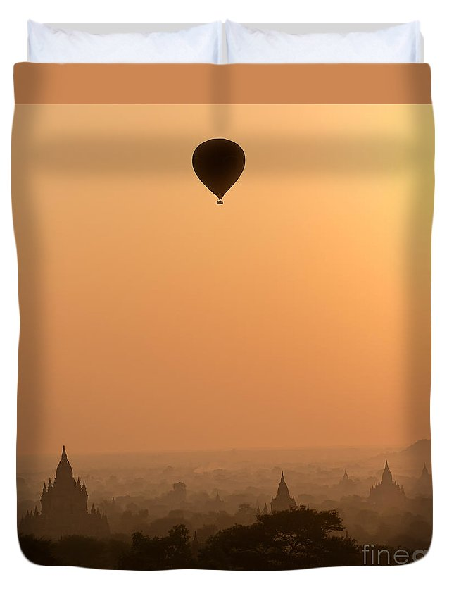 Adventure Duvet Cover featuring the photograph Bagan Sunset - Myanmar by Luciano Mortula