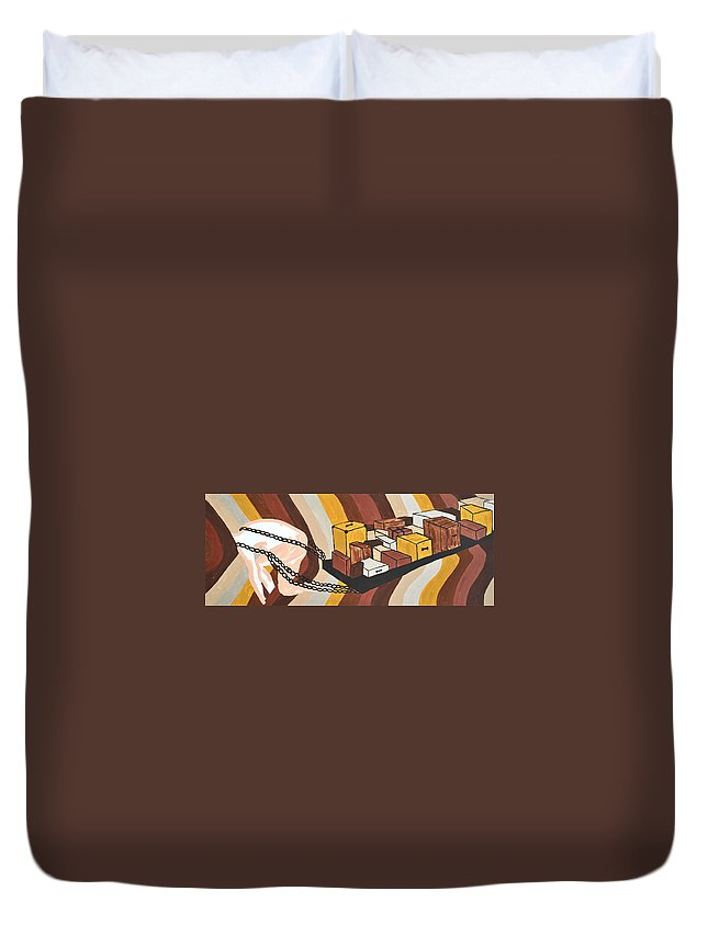Male Nude Duvet Cover featuring the painting Baggage by Erika Chamberlin