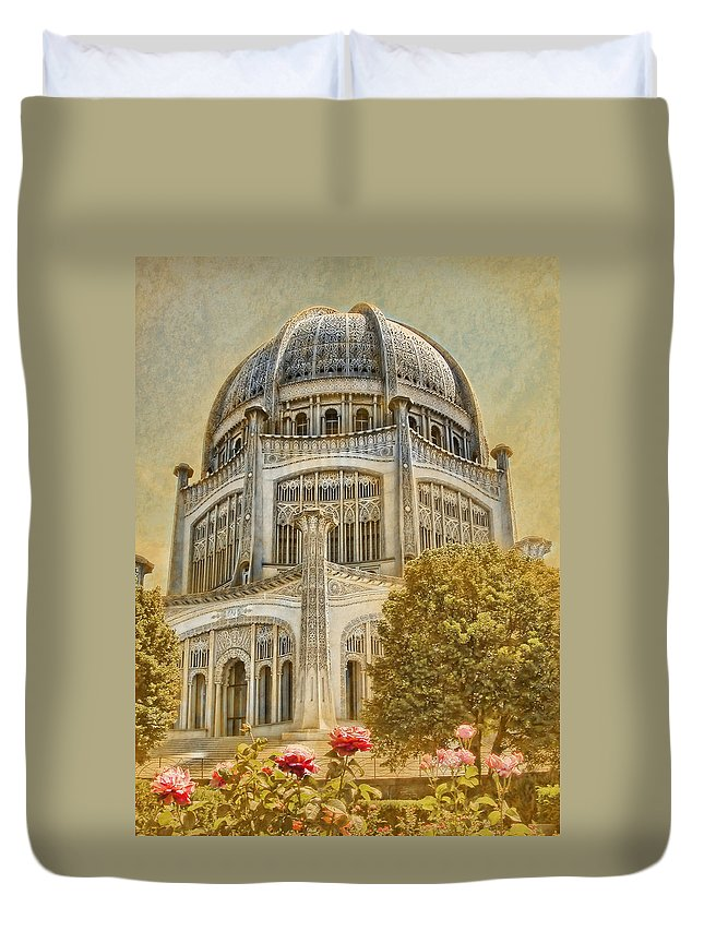 Architecture Duvet Cover featuring the photograph Baha'i Temple In Wilmette by Rudy Umans