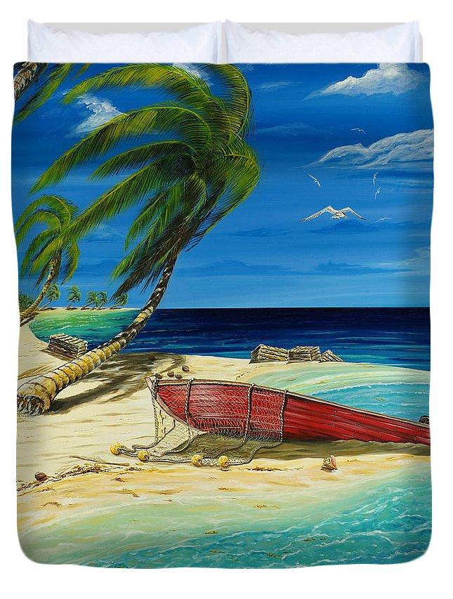 Bahama Duvet Cover featuring the painting Bahama Beach by Steve Ozment