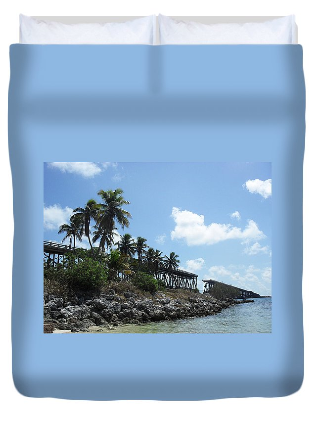 Tropical Duvet Cover featuring the photograph Bahi Bridge by Sheryl Chapman Photography
