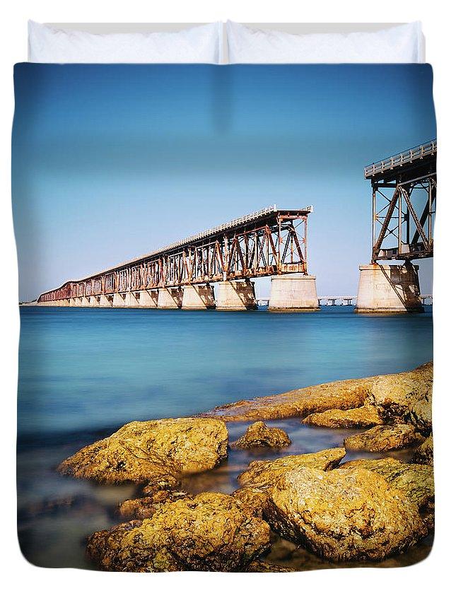 Seascape Duvet Cover featuring the photograph Bahia Honda State Park Florida by Ferrantraite