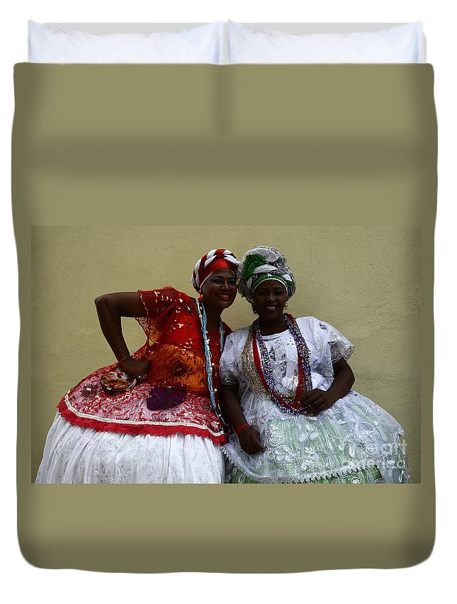 Lady Duvet Cover featuring the photograph Bahian Ladies Of Salvador Brazil 3 by Bob Christopher