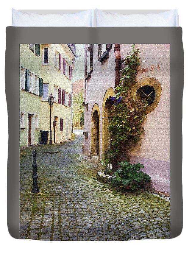Architecture Duvet Cover featuring the photograph Bahnhof St. by Sharon Foster