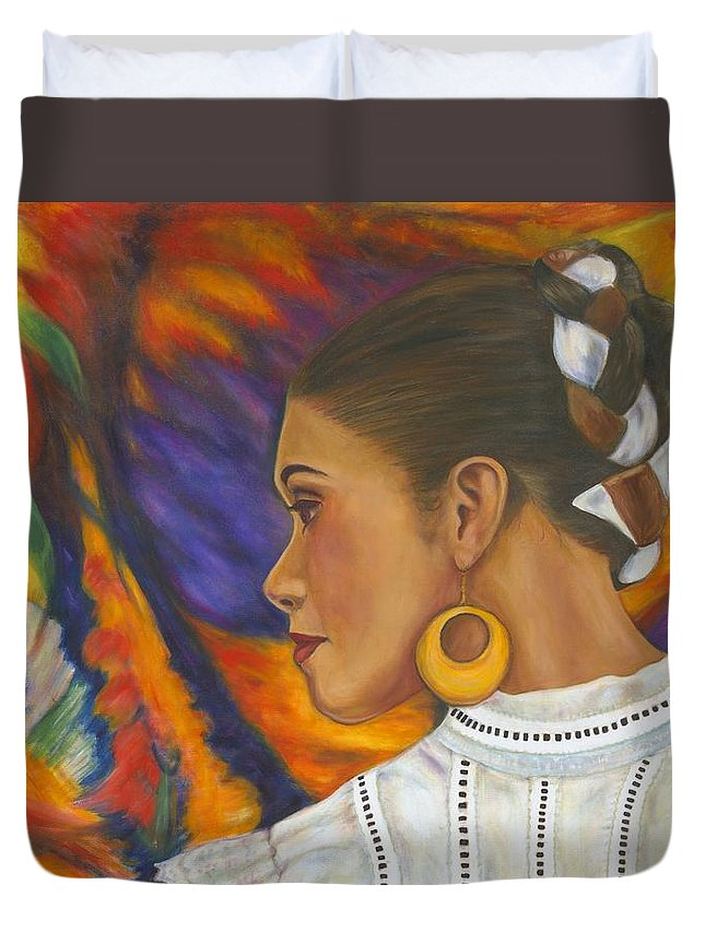 Mexican Duvet Cover featuring the painting Baile Con Colores by Pat Haley