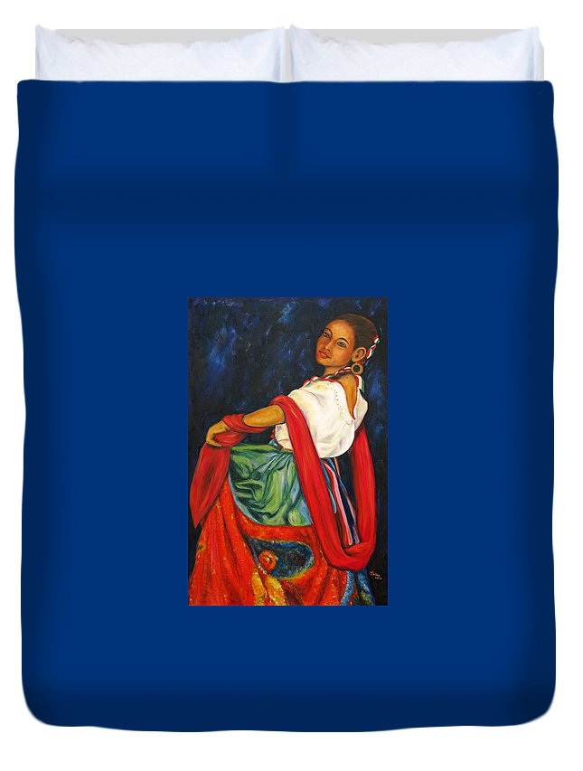 Baile Duvet Cover featuring the painting Baile Conmigo by Pat Haley