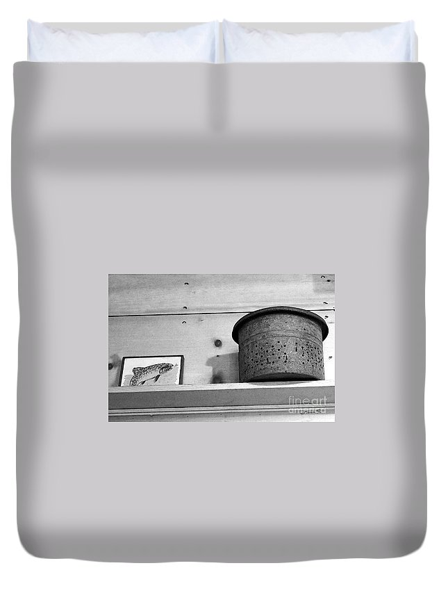 Fishing Duvet Cover featuring the photograph Bait Bucket And Fish by Nina Silver