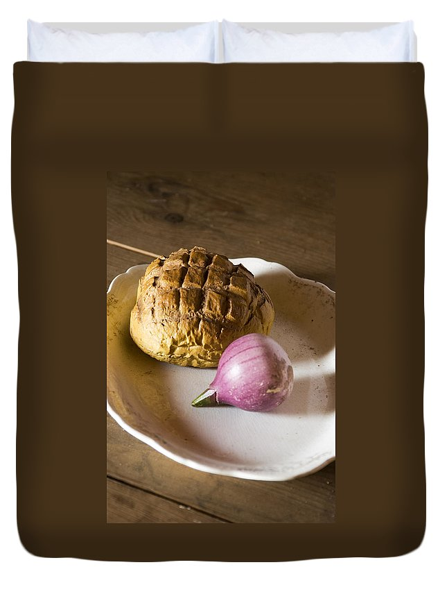 Baked Duvet Cover featuring the photograph Baked Bread And Onion by Bob Pardue