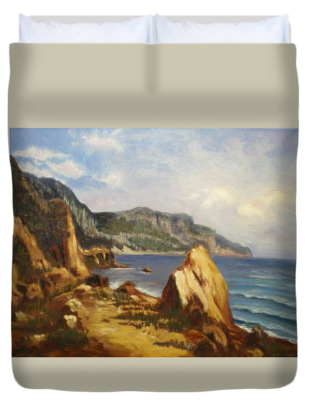 Landscape Duvet Cover featuring the painting Balaklava by Elena Sokolova