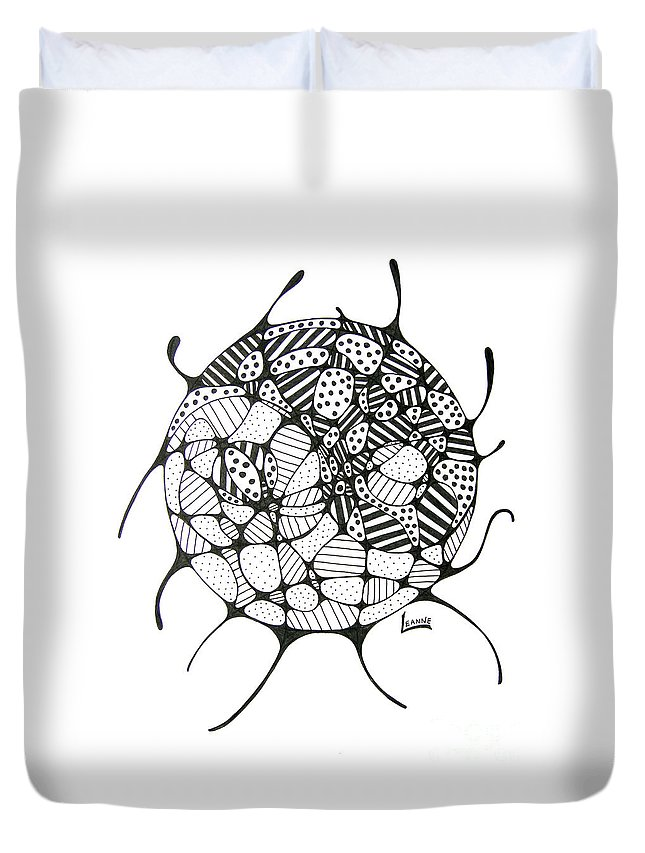 Yin Duvet Cover featuring the drawing Balance Of Light And Dark by Leanne Karlstrom