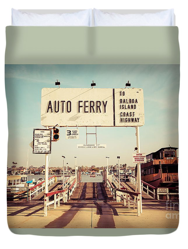 1950s Duvet Cover featuring the photograph Balboa Island Ferry Newport Beach Vintage Picture by Paul Velgos
