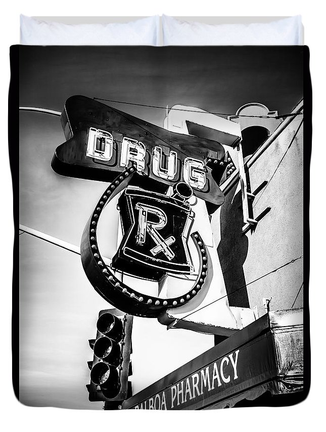 America Duvet Cover featuring the photograph Balboa Pharmacy Drug Store Orange County Photo by Paul Velgos