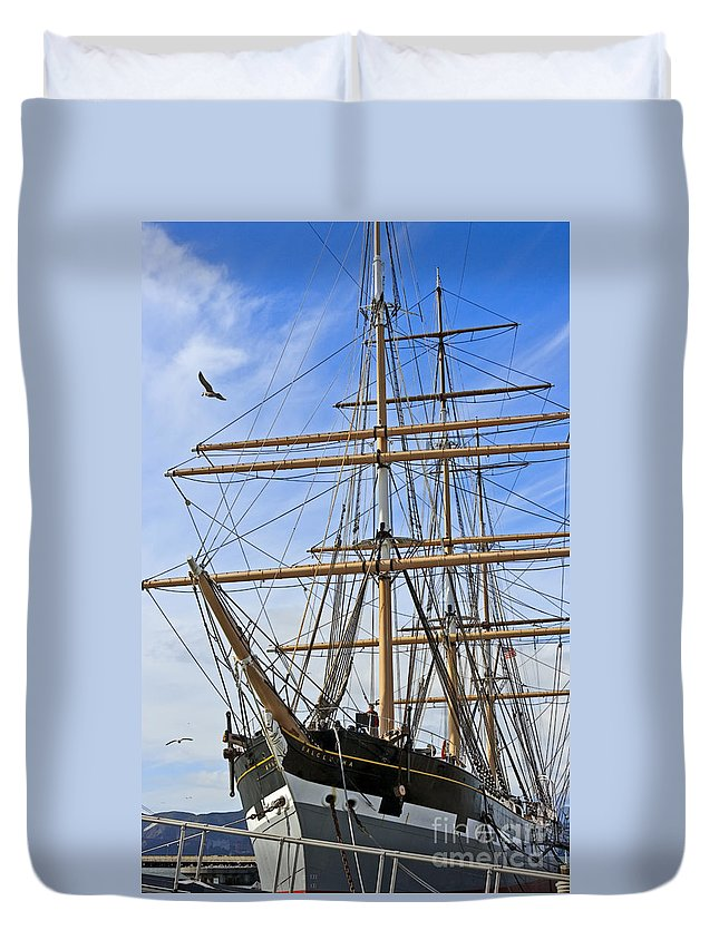 Kate Brown Duvet Cover featuring the photograph Balclutha by Kate Brown