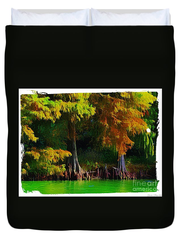 Cypress Duvet Cover featuring the photograph Bald Cypress 3 - Digital Effect by Debbie Portwood