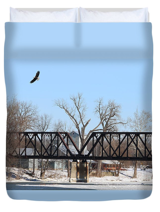 Bald Eagle Duvet Cover featuring the photograph Bald Eagle Near Ludwig Mill by Jack Schultz