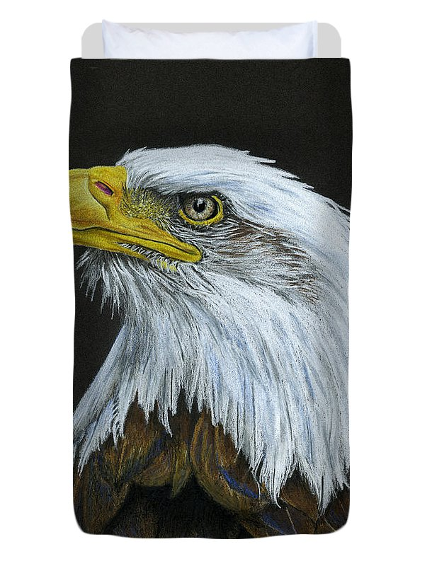 Bald Eagle Duvet Cover featuring the painting Bald Eagle by Sarah Batalka