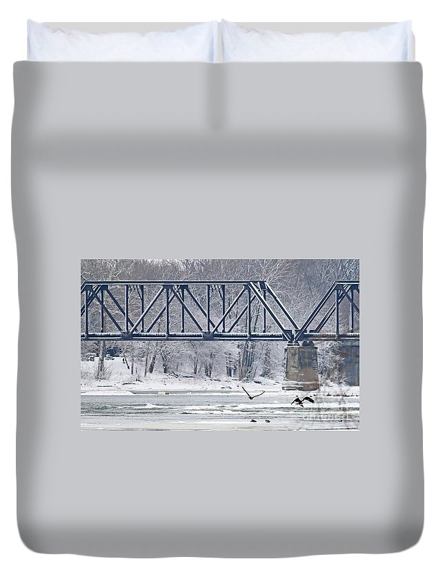 Bald Eagle Duvet Cover featuring the photograph Bald Eagle With Fish By Railroad Bridge 6639 by Jack Schultz