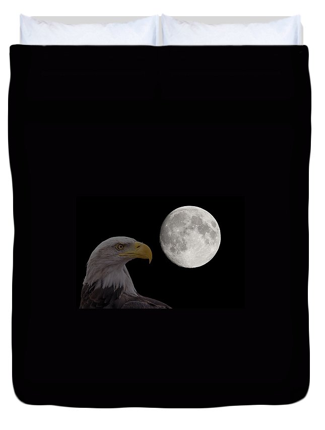 Moon Duvet Cover featuring the photograph Bald Eagle With Full Moon - 2 by Chris Smith