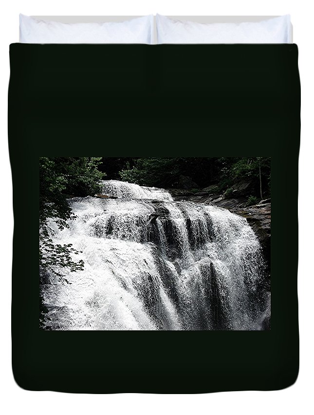 Water Falls Duvet Cover featuring the photograph Bald River Falls by Mary Marsh