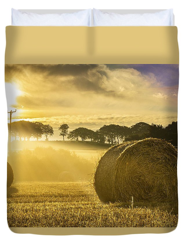 Bale Duvet Cover featuring the photograph Bales In The Morning Mist by Veli Bariskan