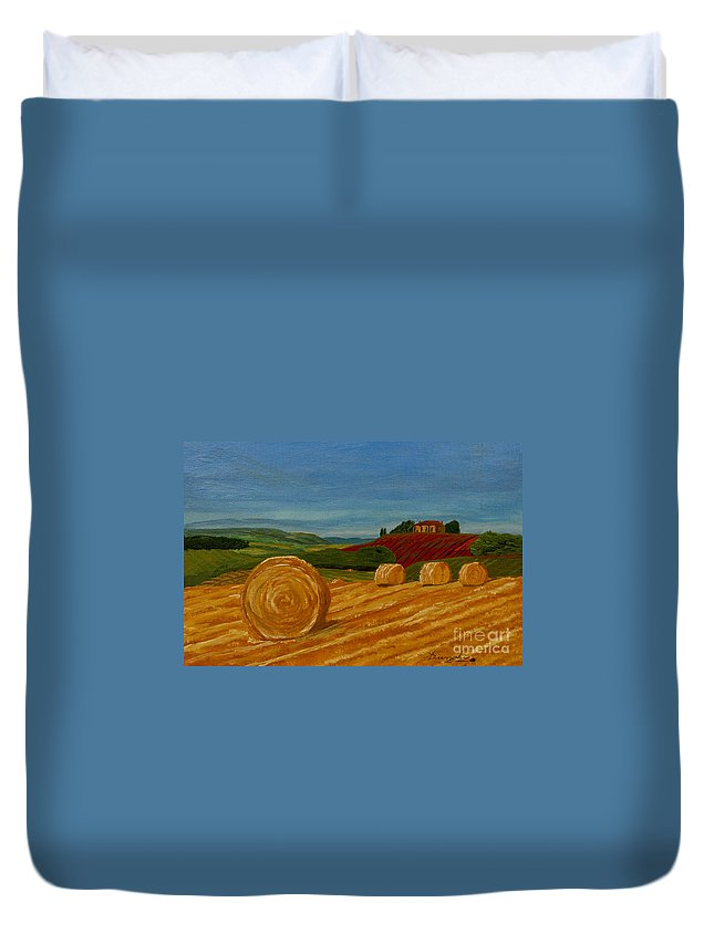 Hay Duvet Cover featuring the painting Field Of Golden Hay by Anthony Dunphy