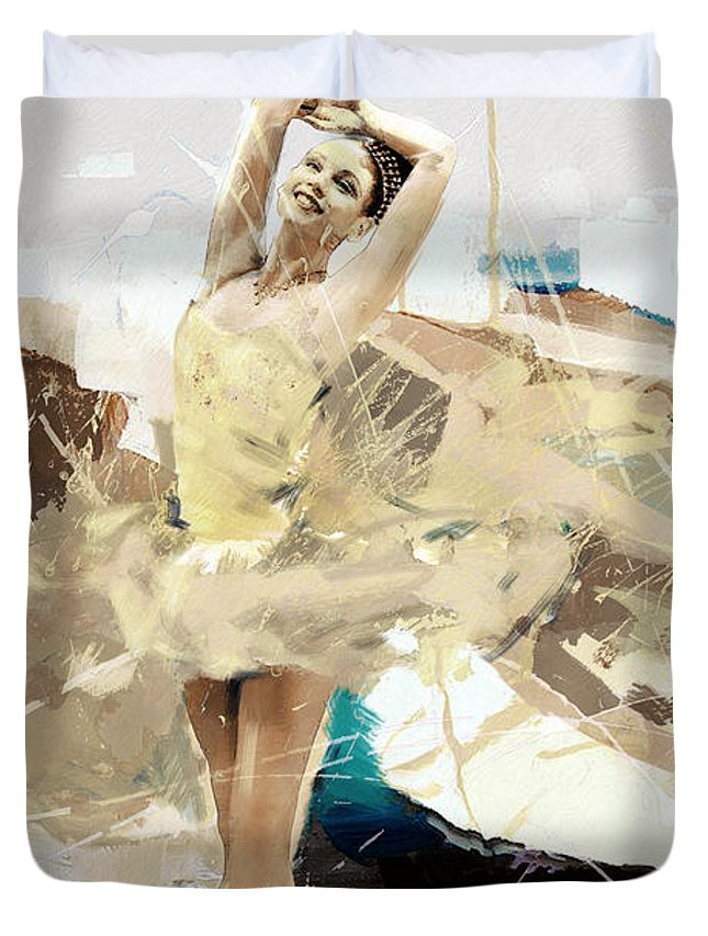 Catf Duvet Cover featuring the painting Ballerina 34 by Mahnoor Shah