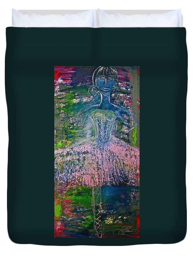 Art Duvet Cover featuring the painting Ballerina Nutcracker by Jamie Lawrence