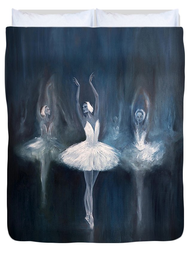 Ballerina Duvet Cover featuring the painting Ballerina. Swan Lake. by Salavat Fidai