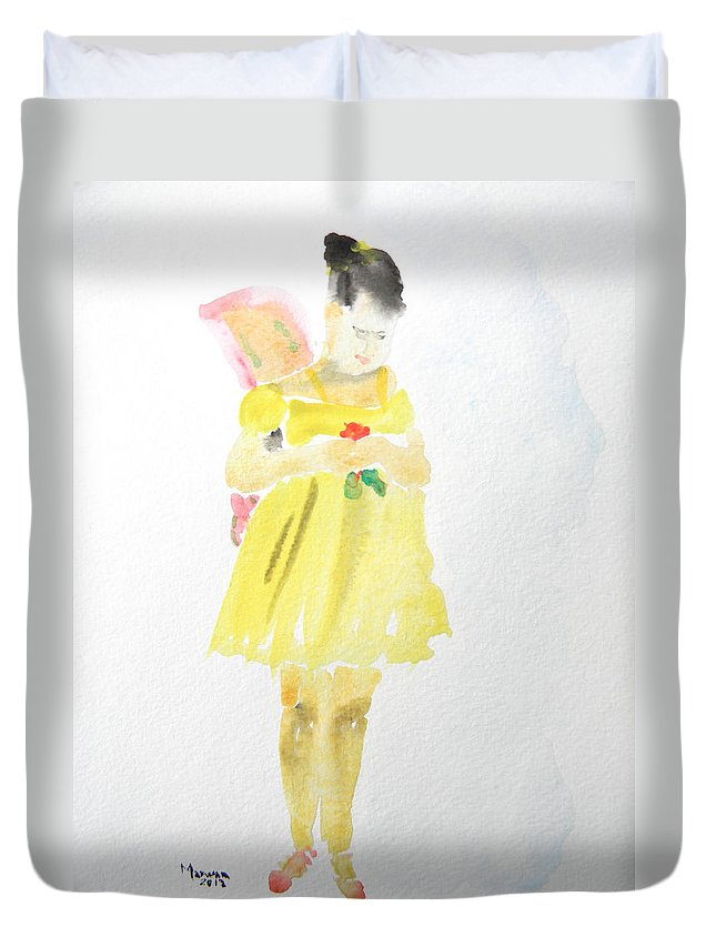 Ballet Duvet Cover featuring the painting Ballerina With The Broken Wing by Marwan George Khoury