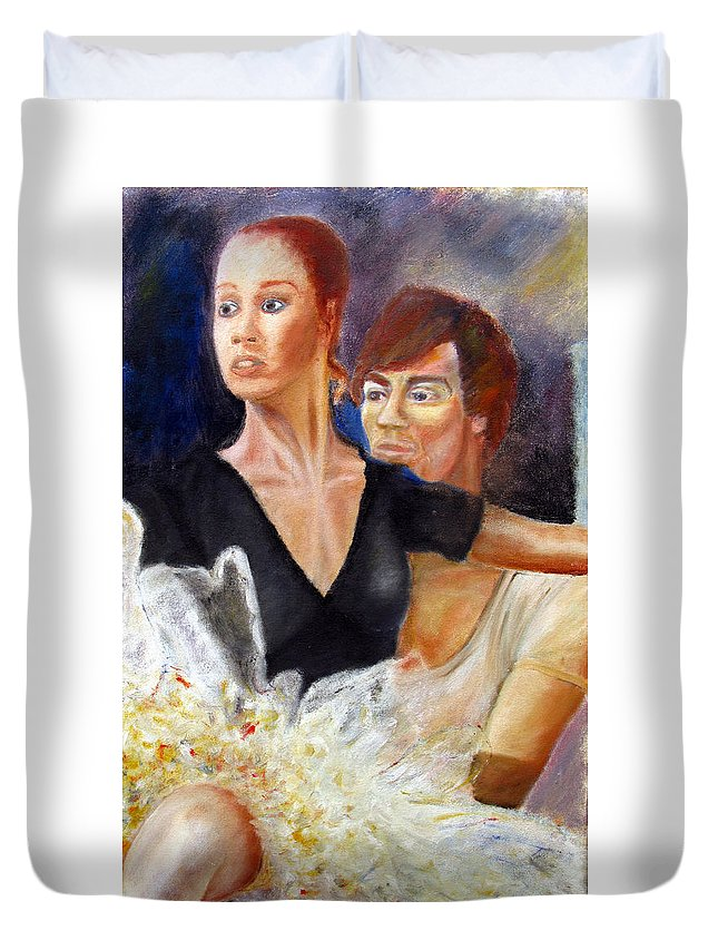Ballet Duvet Cover featuring the painting Ballet Dancers Rehearse For La Bayadere by Tom Conway