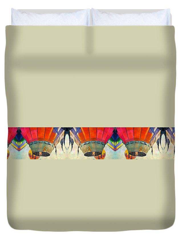 Balloon Duvet Cover featuring the digital art Balloon Banner by Betsy Knapp