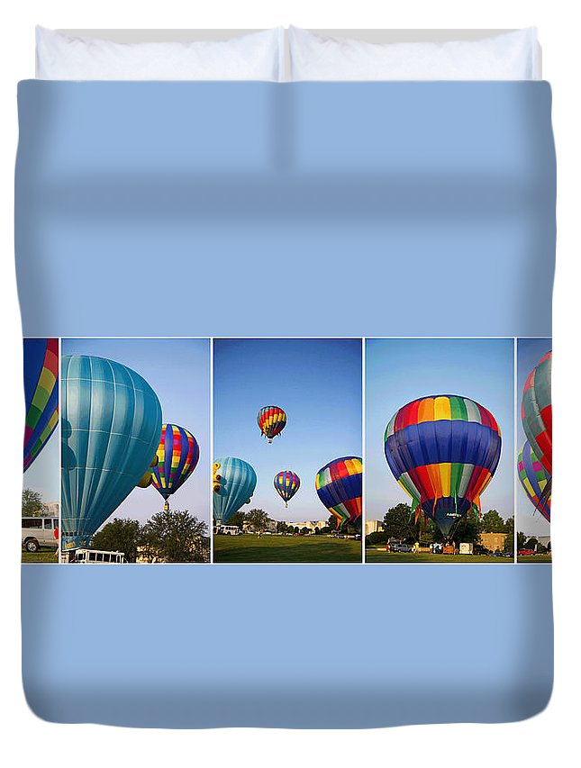 Hot Duvet Cover featuring the photograph Balloon Festival Panels by Betsy Knapp