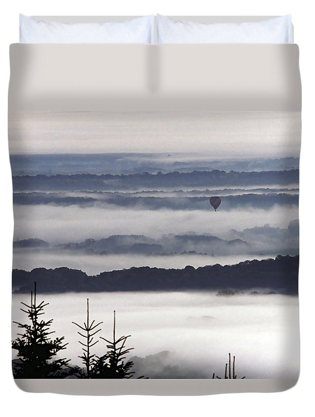 Autumn Duvet Cover featuring the photograph Balloon Over Fog by Patrick Kessler
