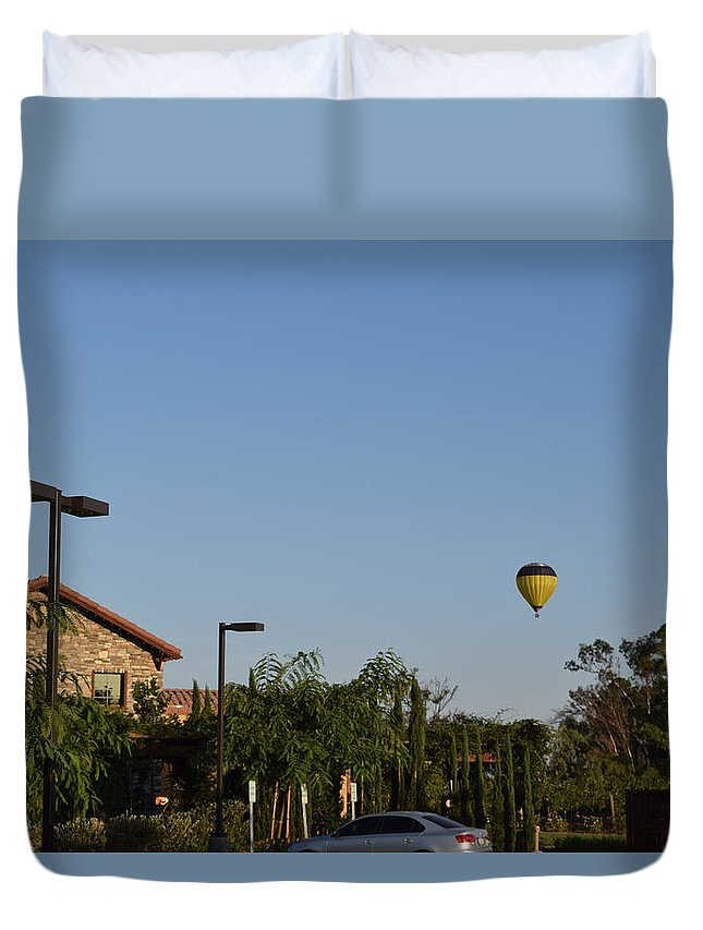 Lorimar Winery Duvet Cover featuring the photograph Balloon Over Lorimar by Steve Scheunemann