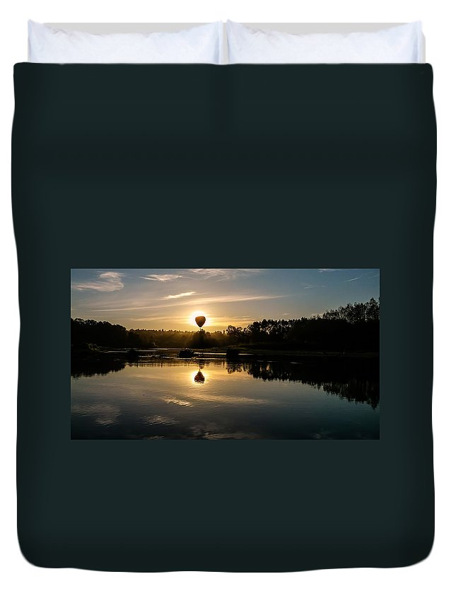 Balloon Duvet Cover featuring the photograph Balloon Over Snohomish River by Randal Ketchem